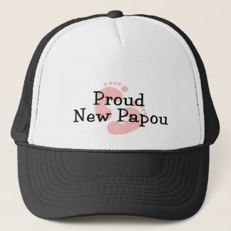 Proud New Papou Baby Girl Footprints Trucker Hat