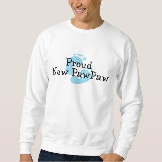 Proud New PawPaw Baby Girl Footprints Sweatshirt