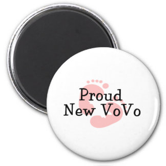 Proud New Vovo Baby Girl Footprints 6 Cm Round Magnet