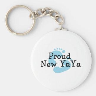 Proud New Yaya Baby boy Footprints Basic Round Button Key Ring