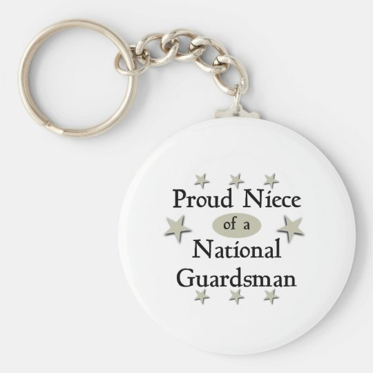 Proud Niece of a National Guardsman Basic Round Button Key Ring