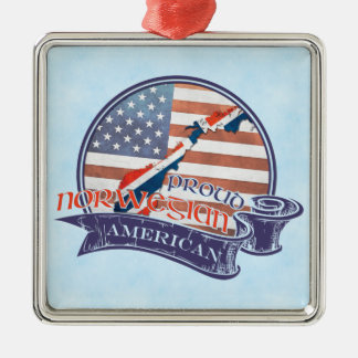 Proud Norwegian American Decoration Silver-Colored Square Decoration