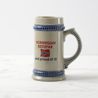 Proud Norwegian Bestefar (grandfather) Beer Stein