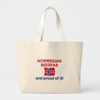 Proud Norwegian Bestefar (grandfather) Large Tote Bag
