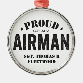 Proud of My Airman Silver-Colored Round Decoration