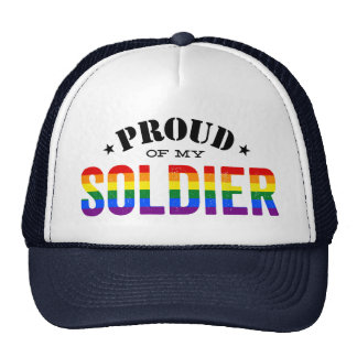 Proud of My Gay Soldier Rainbow Flag Cap