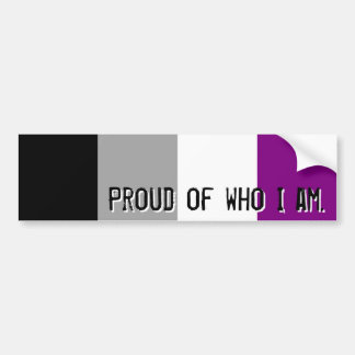 Proud of who I am - Asexual flag bumper sticker