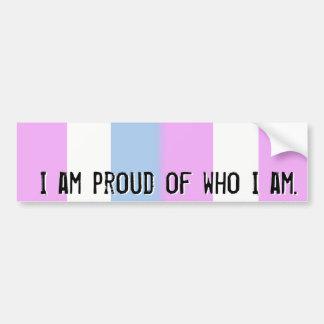Proud of who I am - Intersex flag bumper sticker