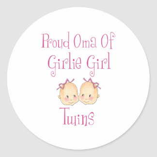 Proud Oma Of Girl Twins Round Sticker