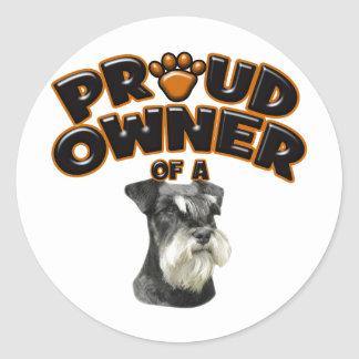 Proud Owner of a Miniature Schnauzer Classic Round Sticker