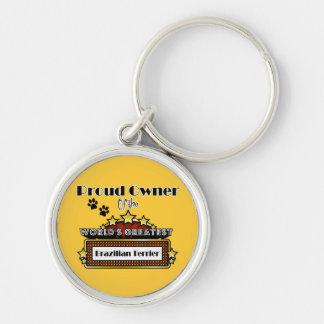 Proud Owner World's Greatest Brazilian Terrier Silver-Colored Round Key Ring