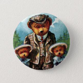 Proud Papa Bear - Letter P - Vintage Teddy Bear 6 Cm Round Badge