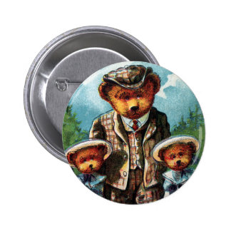 Proud Papa Bear - Letter P - Vintage Teddy Bear 6 Cm Round Badge