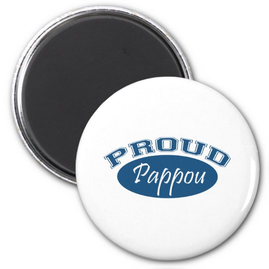 Proud Pappou (Blue) 6 Cm Round Magnet