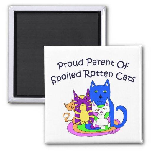 Proud Parent of Spoiled Rotten Cats Square Fridge Magnet