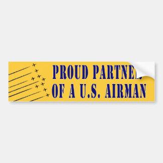 Proud Partner of an Airman Car Bumper Sticker