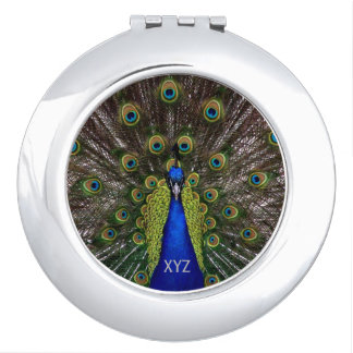 Proud Peacock custom monogram pocket mirror Compact Mirrors