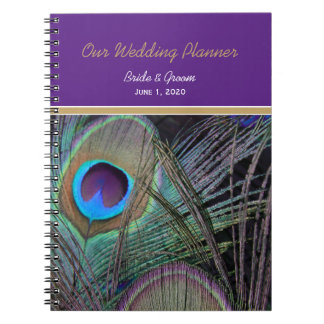 Proud Peacock Purple Wedding Notebook