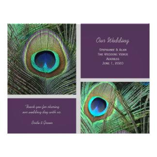 Proud Peacock Purple Wedding Program Flyers