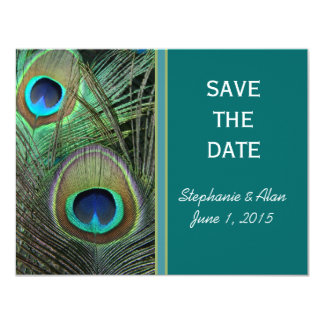 Proud Peacock Save The Date Cards 11 Cm X 14 Cm Invitation Card