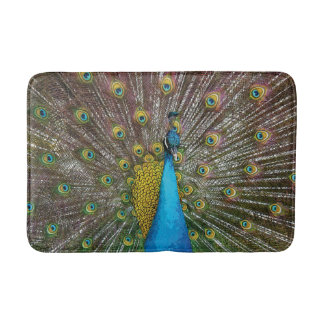 Proud Peacock with Royal Plumage Bath Mat