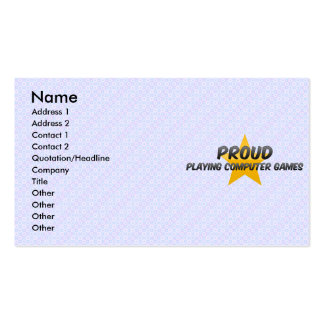 Proud Playing Computer Games Business Card Template