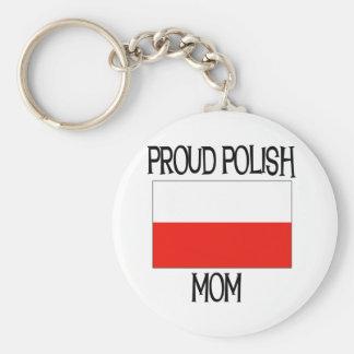 Proud Polish Mom Basic Round Button Key Ring