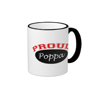 Proud Poppa (Black and Red) Coffee Mugs