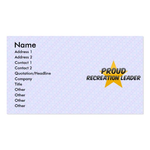 Proud Recreation Leader Business Card