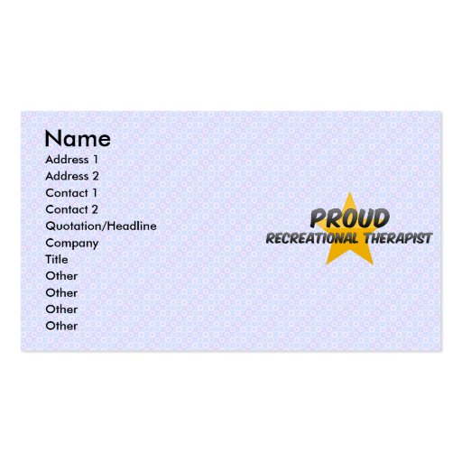 Proud Recreational Therapist Business Card Template