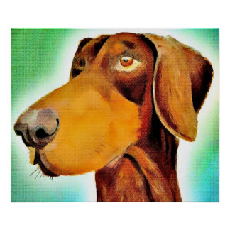 Proud Red doberman original artwork poster