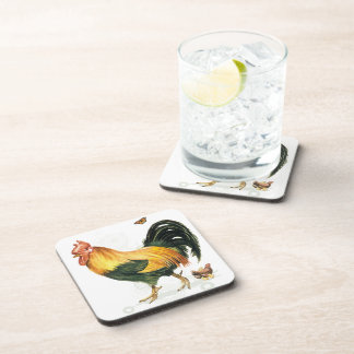 Proud Rooster with hen and chickens Beverage Coasters