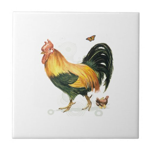 Proud Rooster with hen and chickens. Tile