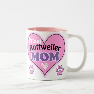 Proud Rottweiler Mom Two-Tone Coffee Mug