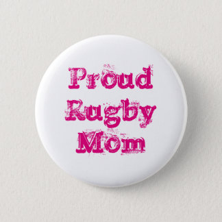 Proud Rugby Mom Badge - Pink & White