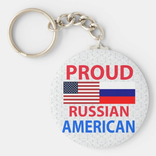 Proud Russian American Basic Round Button Key Ring