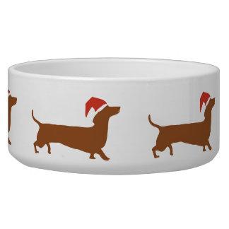 Proud santa dachshund silhouette pet bowl