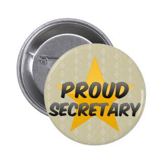 Proud Secretary 6 Cm Round Badge
