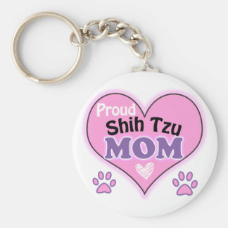 Proud Shih Tzu Mom Basic Round Button Key Ring