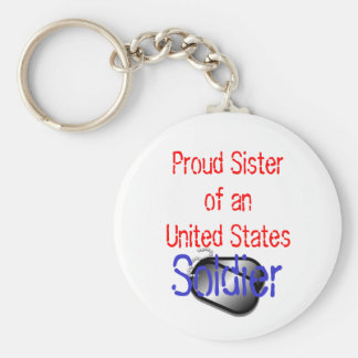 Proud Sister Soldier Basic Round Button Key Ring