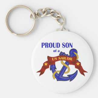 Proud Son of a US Sailor Basic Round Button Key Ring