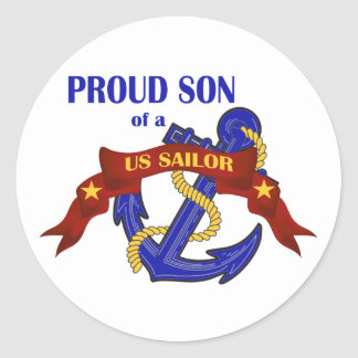 Proud Son of a US Sailor Round Sticker
