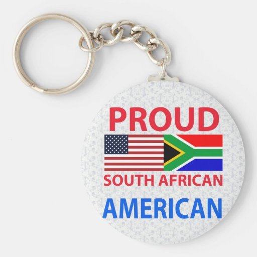 Proud South African American Basic Round Button Key Ring