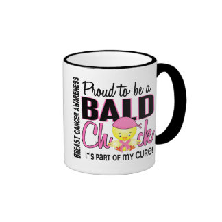 Proud To Be A Bald Chick Breast Cancer Ringer Mug