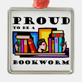 Proud to be a bookworm. Book lover among books Christmas Ornament