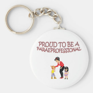PROUD TO BE A PARAPROFESSIONAL BASIC ROUND BUTTON KEY RING