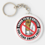 Proud To Be A Quitter 1 Year Basic Round Button Key Ring