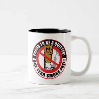 Proud To Be A Quitter 1 Year Two-Tone Coffee Mug