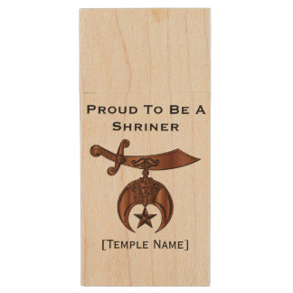 Proud To Be A Shriner Flash/Thumb Drive Wood USB 3.0 Flash Drive