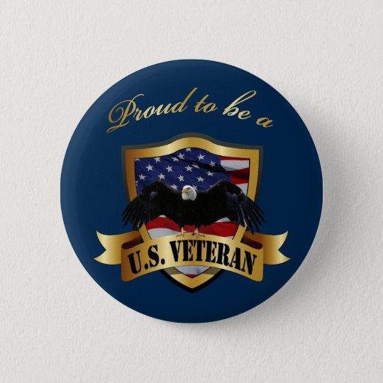 Proud to be a U.S. Veteran - navy blue 6 Cm Round Badge